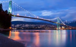 leoni, Porta, ponte, Basta, Dopo, tramonto, Stanley Park, Vancouver, British Columbia, Canada