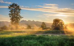 Misty Morning Sunrise, Jerry Sulina Park, Maple Ridge, British Columbia, Canada