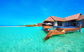 tropics, sea, bungalow