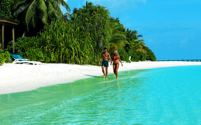 tropics, Maldives, sea, beach