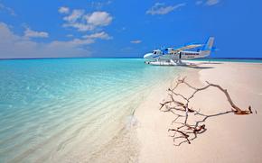 tropiques, Maldives, mer, plage, avion