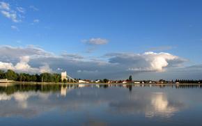 margen, río, agua, cielo, nubes