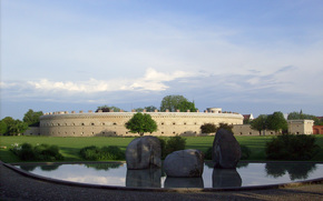 city, Ingolstadt, Germany, fortress, stones, water, reflection, park, morning