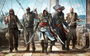 credo dell'assassino, bandiera nera, edward Kenway, Edward Kenuey, Barbanera, squadra, Pirati, pirata, spedire