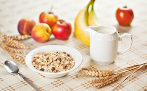 food, breakfast, muesli, fruit, apple, apples, bananas, spoon, wheat, rye, plant, table, background, Healthy Eating, Widescreen, fullscreen, Widescreen, HD wallpapers