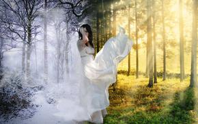 ragazza, inverno, estate, photoshop