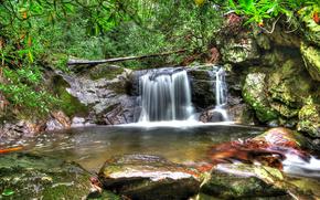 водопад, водоём, камни, деревья, лес, hdr