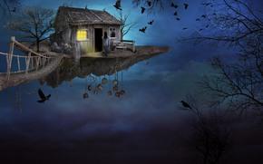 fantasmogoriya, arte, cielo, puente, isla, chica, casa, pájaros, fantasía
