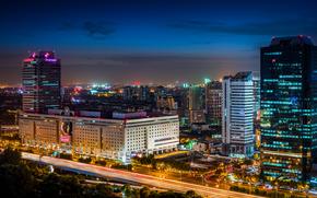 Shanghai, Shanghai Mart, Shanghai, China, Asia, ciudad, noche, luces, edificio, Rascacielos, casa, carretera, exposición, iluminación, retroiluminación