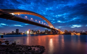 Lupu Bridge, Shanghai, China, Huangpu River, Shanghai, China, Lupu Bridge, Huangpu River, city ​​nightlife