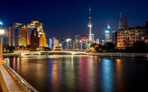 Shanghai, Shanghai, China, ciudad, noche, La Perla Oriental, Torre de televisión, puente, río, luces, edificio, Rascacielos, luces, casa, iluminación, retroiluminación