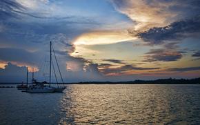 закат, водоём, лодки, пейзаж