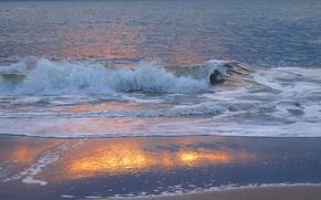 ズィルト島のビーチで静かな夜, ドイツ, 海, 波浪, 岸, 風景