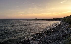 海, 岸, 日没, 石, 風景