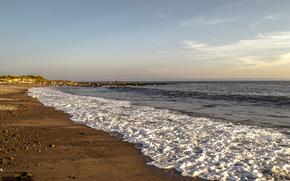 海, 岸, 波浪, 泡, 風景