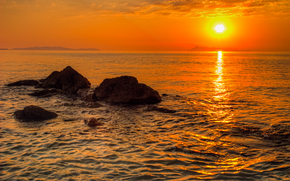 Greek Island, sunset, sea, Rocks, landscape