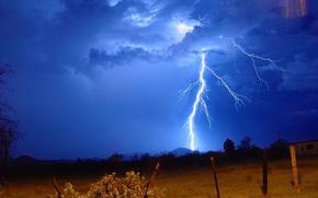 sky, field, Pillars, lightning, nature