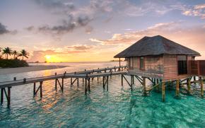 Viaggio di nozze, acqua, Villa, Conrad, Maldive, HDR