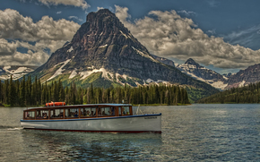 Sinopah, mountain, Glacier National Park, Montana, USA, boat, Lake, HDR
