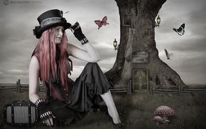 девушка, бабочки, дерево, фантазия