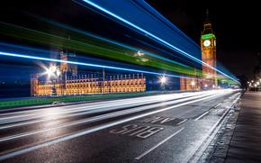 England, road, United Kingdom, Westminster Palace, Big Ben, night, asphalt