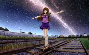 At dawn, nyashka, walks, on rails, under the starry sky.
