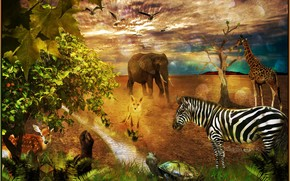 elephant, zebra, giraffe, fox, turtle, deer, fantasmogoriya, 3d, art
