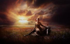 закат, девушка, лошадь, фентази