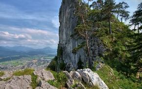Austria, горы, скала, деревья, небо, природа, пейзаж