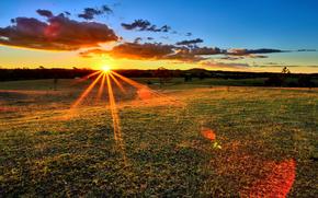 tramonto, Raggi, campo, natura, paesaggio