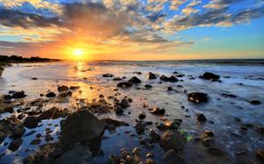 sunset, sea, sky, stones, nature, landscape