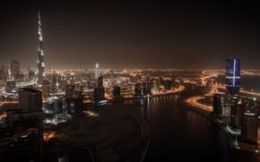 city, Dubai, naght, houses, Dubai, home, High-rise buildings, night, panorama.