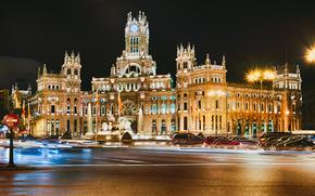 Madrid, Spain, Palacio de Cibeles, Madrid, Spain, city, night, building, architecture, road, machinery, asphalt, lights, exposure
