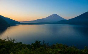 Mont Fuji, Montagnes, brouillard, Lac Motosu, matinée