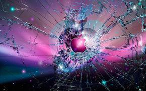 apple, стекло, логотип, трещины, яблоко, розовый