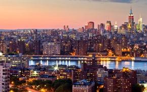 Midtown, Manhattan, Nova York, NYC, Nova Iorque, EUA, cidade, noite, p?r do sol, estreito, Arranha-c?us, constru??o, high-rise, Pr?dios, luzes
