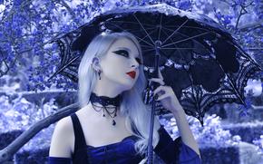 готика, девушка, зонт