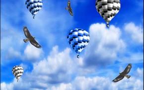 птицы, воздушные шары, небо