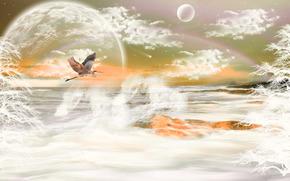 stork, sea, planet, 3d, art