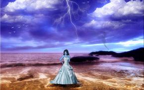 girl, sea, lightning, art