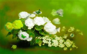 цветы, бабочки, 3d, art