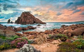 Австралия, западная, пляж, камни, скала, закат
