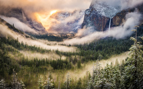Una tempesta invernale di compensazione, Foresta, California, USA