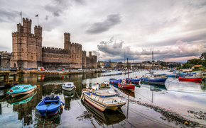 Caernarfon castle and Harbor, North Wales, GB