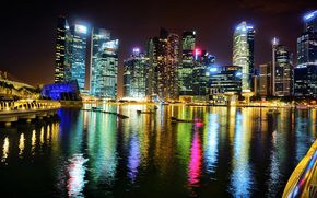Singapore, Marina Bay, Singapore, Asia, city, night, bay, lights, backlight, Skyscrapers, building, high-rise, High-rise buildings