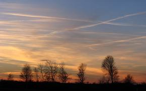 sunset, silhouette, clouds, evening, sky