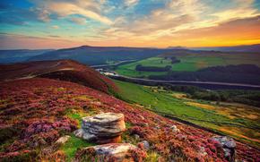 Inglaterra, vale, rio, campo, céu, Nuvens