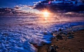 природа, пейзаж, море, вода, река, волна. камни, камушки, песок, солнце, небо, облака, фон, обои, широкоформатные, полноэкранные, широкоэкранные, HD wallpapers, background, wallpaper, widescreen, fullscreen