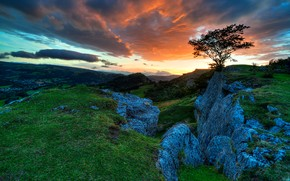 Snowdonia, United Kingdom, sunset, Rocks, landscape