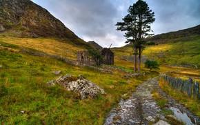 Сноудония, великобритания, горы, дорога, руины, пейзаж